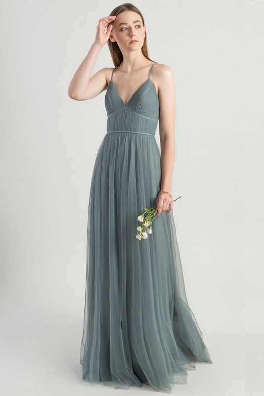 Charming Spaghetti Straps Flowy Backless Tulle Long Simple Prom Dresses Bridesmaid Dress Y0051