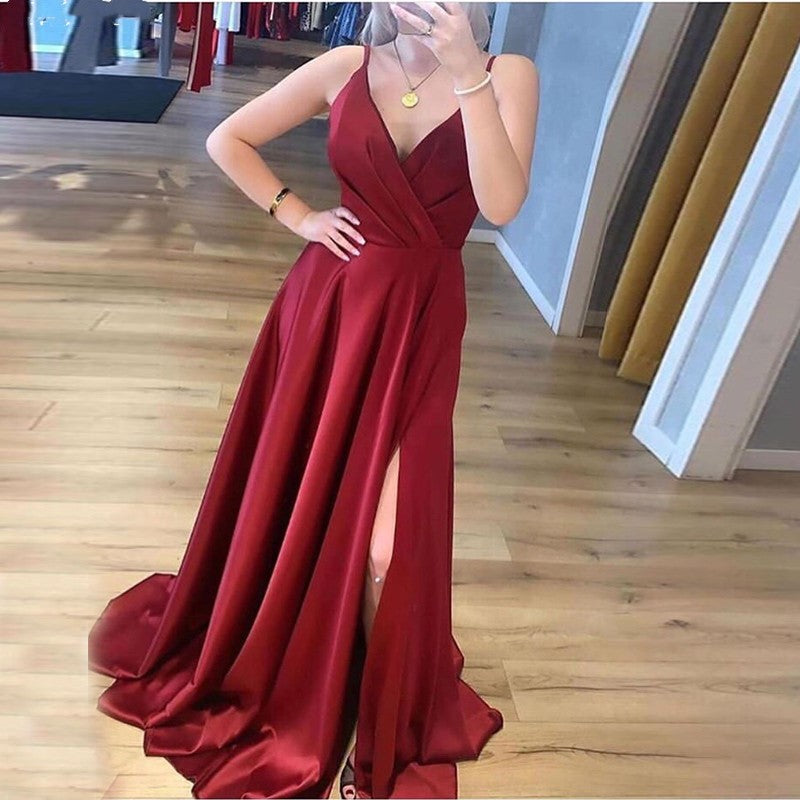Simple Spaghetti Straps V-neck Front Split Long Party Prom Dresses Y0055