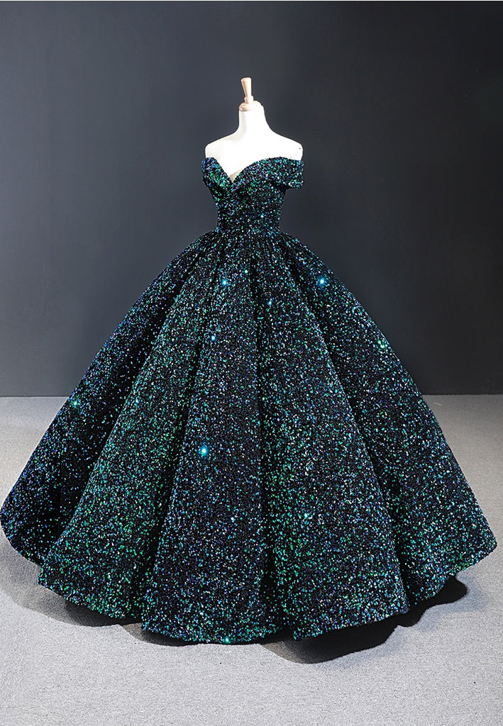Glitter Lace Up Ball Gown Floor Length Dark Green Long Prom Dresses Y0058