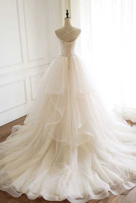 Modest Spaghetti Straps Long Ball Gown Lace Up Wedding Dresses Y0064