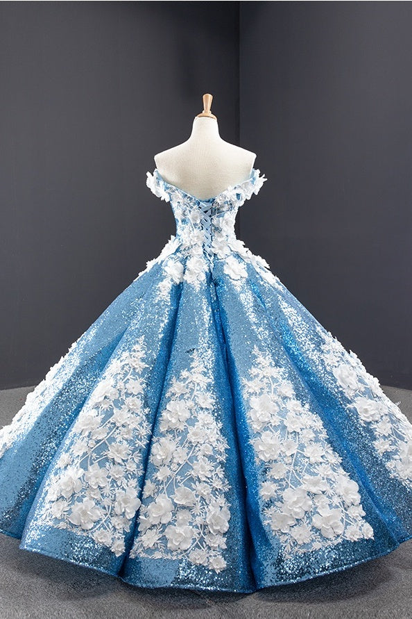 Chic Off The Shoulder Blue Ball Gown Princess Prom Dresses With Appliques Y0065