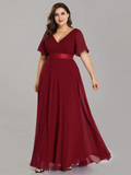 Simple V-neck Burgundy Long A-line Chiffon Long Plus Sizes Prom Dresses Y0066