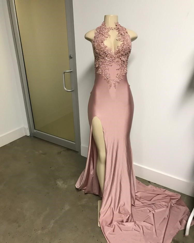 Charming Dusty Rose Long Fornt Split Prom Dresses With Lace Appliques Y0074