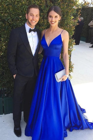 A-line Spaghetti Straps Long V-neck Royal Blue Simple Prom Dresses Y0075