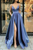 Elegant Spaghetti Straps Front Split Satin Long Prom Dresses For Teens Y0077