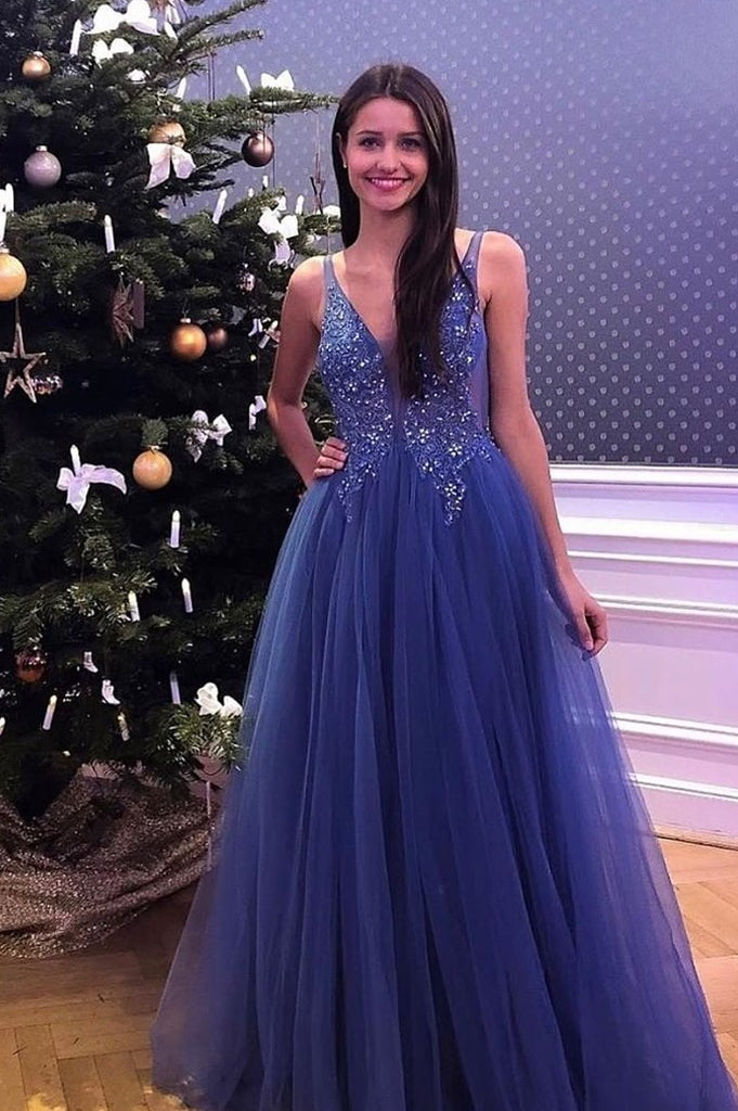Flowy V-neck Simple Lace Tulle Beading Long Blue A-line Party Prom Dresses Y0085