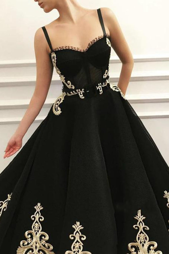 Modest Spapghetti Straps Long Black Prom Dresses With Appliques Y0089
