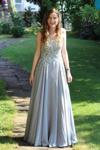 Cute A-line Floor Length Beading Prom Dresses For Teens Party Dresses Y0091