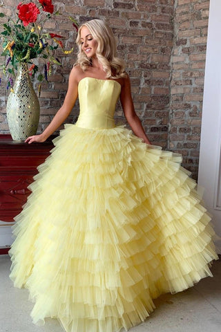 Cute Strapless Satin Tulle Long Floor Length Princess Prom Dresses Y0096