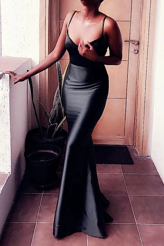 Sexy Black Sheath Long Floor Length Simple Prom Dresses Party Dress Y0097