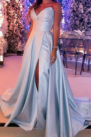 Modest Strapless Long A-line Simple Prom Dresses For Teens Y0099