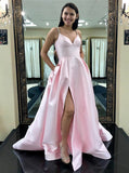 Simple Pink Satin A-line Prom Dresses Party Gown With Pockets Y0101