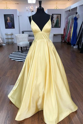 Spaghetti Straps V-neck Long Daffodil Simple Satin Prom Dresses Y0102