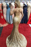 Sexy Sheath Front Split Long Sequin Shiny Prom Dresses Party Dress Y0103