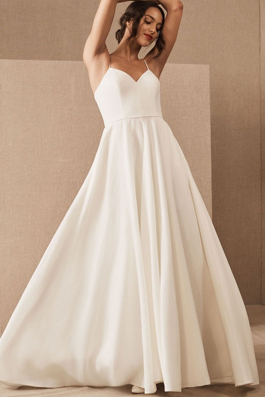 Spaghetti Straps Zipper Back Long Simple Style Ivory Wedding Dresses Bridal Dress Y0105