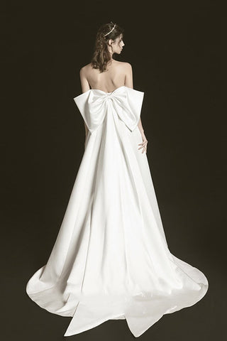 Chic Sweetheart Ivory Satin Simple Long Beach Wedding Dresses With Bowknot Y0107