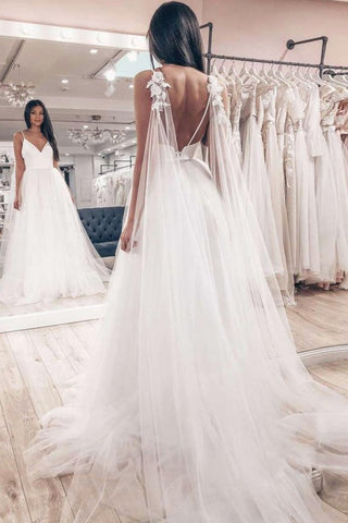 Flowy Backless Tulle Long Beach Wedding Dresses Elegant Bridal Gowns Y0110