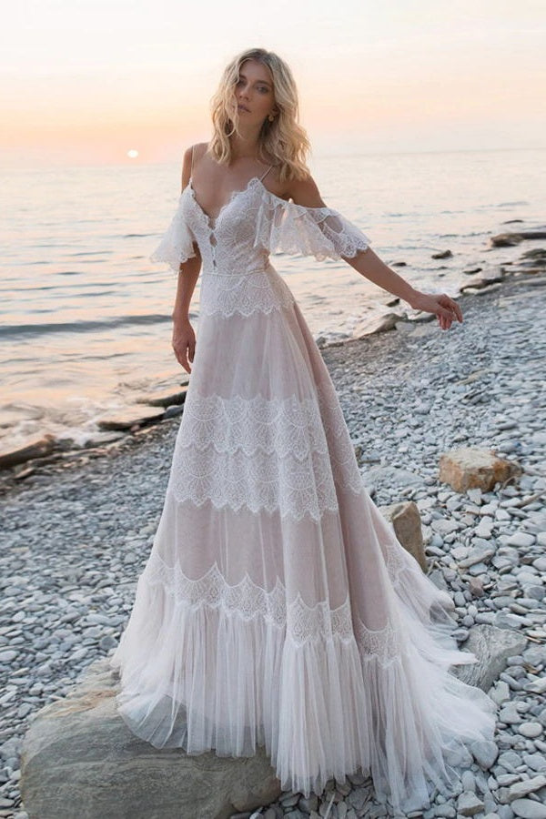 Bohemia Charming Long Lace Beach Wedding Dresses For Women Y0111