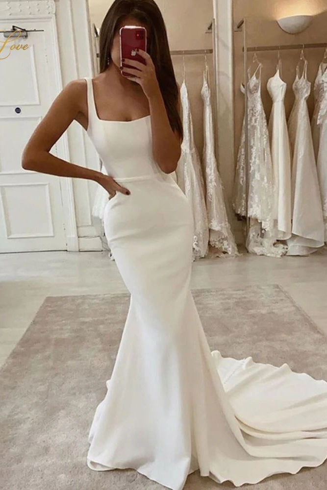 Simple Square Neckling Mermaid Long Wedding Dresses Classy Bridal Gowns Y0112