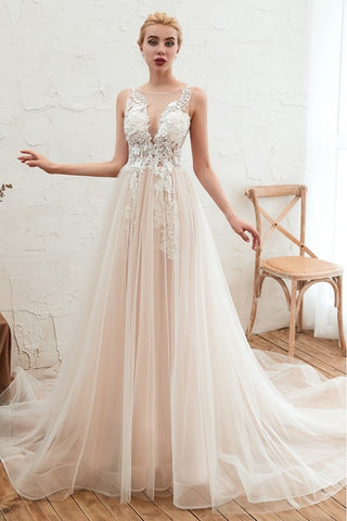 Classy Scoop Neckling A-line Long Tulle Wedding Dresses With Appliques Y0113