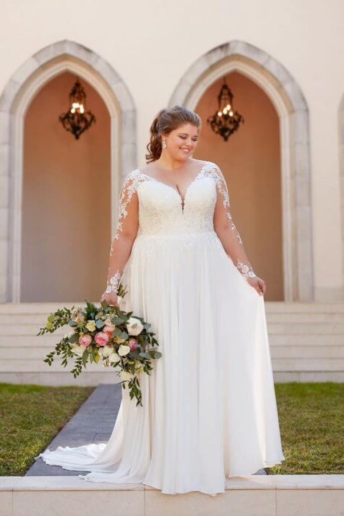 Modest Long Sleeves Lace Chiffon V-neck Plus Sizes Beach Wedding Dresses Y0114