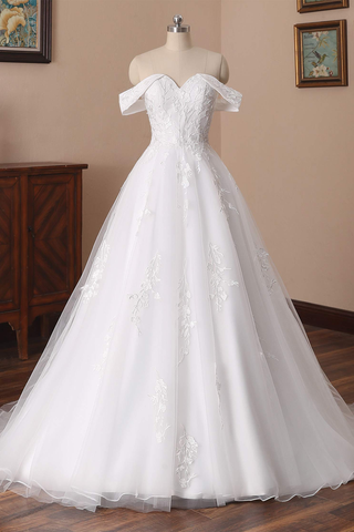 Charming Off The Shoulder Long A-line Tulle Wedding Dresses With Lace Appliques Y0121