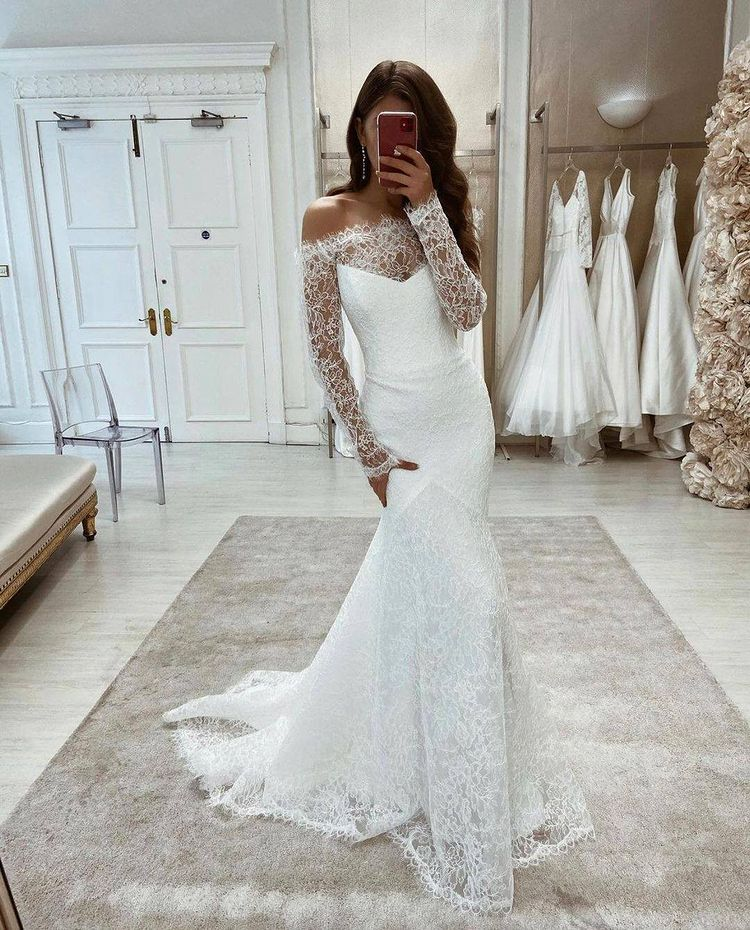 New Arrival Mermaid Long Lace Beach Wedding Dresses With Sleeves Y0122