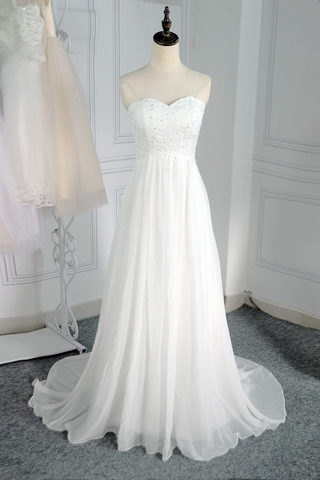 Classy Sweetheart Long Ivory Lace Chiffon Simple Beach Wedding Dresses Y0124