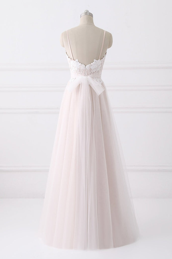 Elegant Spaghetti Straps Lace Tulle Long A-line Prom Dresses Y0129