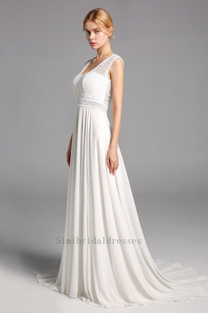 Newest Simple Long Lace Chiffon Open Back Beach Wedding Dresses Y0130