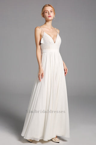 Elegant Simple Spaghetti Straps V-neck Lace Chiffon Long Beach Wedding Dresses Y0131