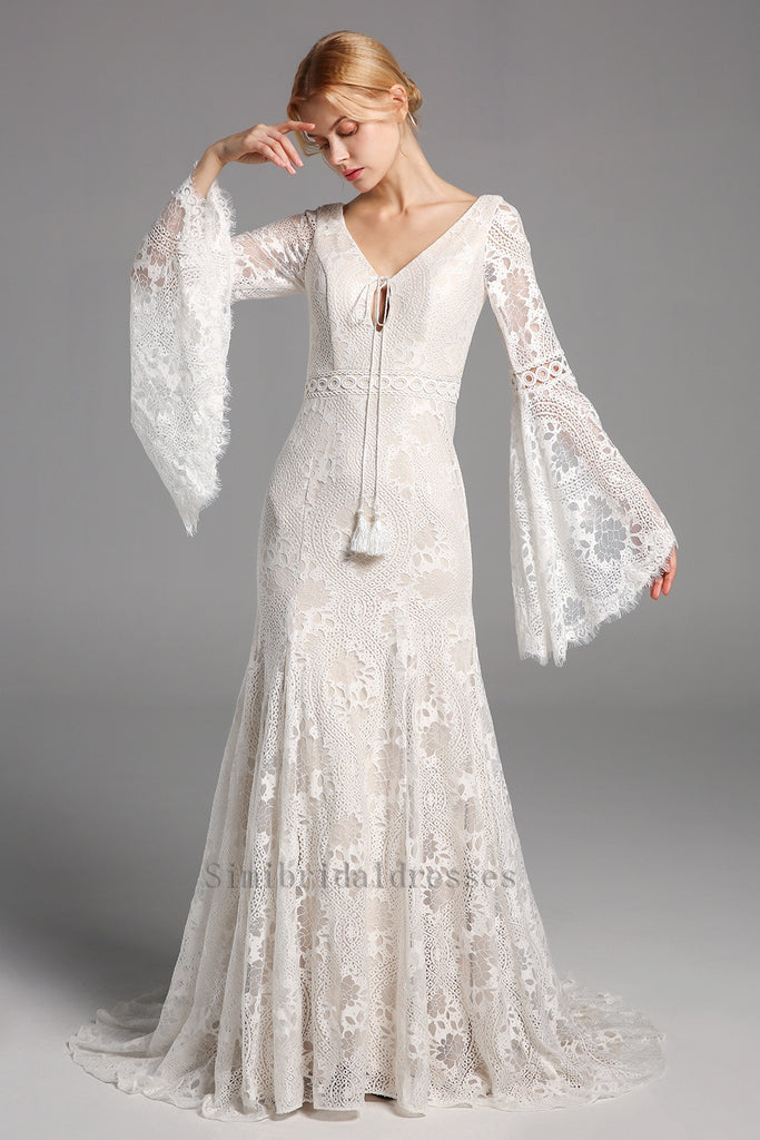 New Arrival Boho Long Sleeves Lace Beach Wedding Dresses Chic Bridal Gowns Y0133