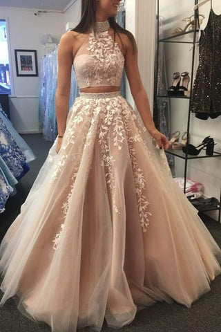 Elegant 2 Pieces Halter Long A-line Prom Dresses With Appliques Y0137