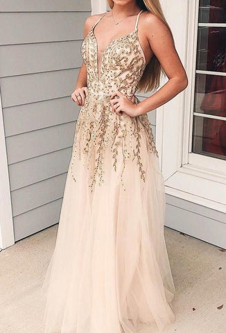A-line Long Tulle Prom Dresses For Teens Lace Party Gowns Y0140