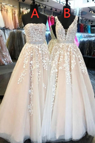 Best Selling Long A-line Tulle Prom Dresses With Lace Appliques Y0143