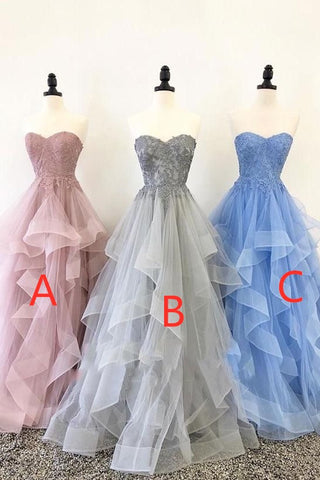 Pretty Strapless Long Princess Prom Dresses For Teens Cute Party Dress Y1014