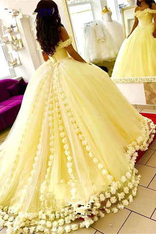 9e28aed4db9e0 Yellow Ball Gown Quinceanera Dresses 3D Flowers Off Shoulder Sweet 16  Princess Prom Gowns N1654