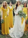 Flowy Yellow Long Chiffon Cheap Floor Length Bridesmaid Dress, A Line Yellow Prom Dress N2368