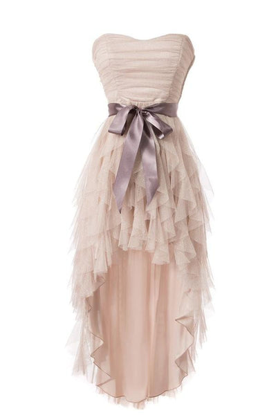 Cheap Simple Strapless Tulle Homecoming Cocktail Dresses SM14