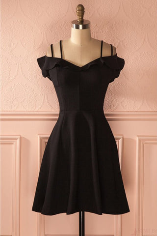 Simple Strap Black Short Satin Graduation Dresses, A Line Ruched Homecoming Dress