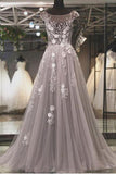 Puffy Cap Sleeves Tulle Prom Dress with Lace Appliques, A Line Long Formal Dresses N1741