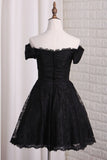 Black Off Shoulder Lace Homecoming Dress, A Line Cheap Short Graduation Dresses N1032