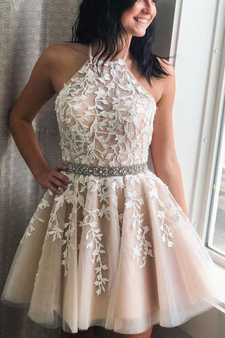 Champagne A Line Halter Sleeveless Homecoming Dress with Beads, Appliqued Short Formal Dress N2167