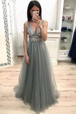 A Line V Neck Sleeveless Tulle Prom Dress with Sequins and Beading, Sparkly Formal Dress N1704