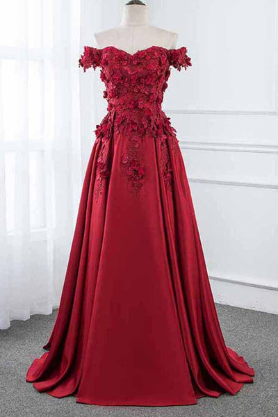 Burgundy Off the Shoulder A Line Satin Prom Dress with Lace Flowers Party Dresses N1347