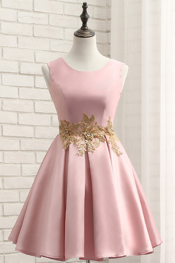 Pink A Line Sleeveless Ruched Homecoming Dress with Gold Appliques, Short Prom Dress