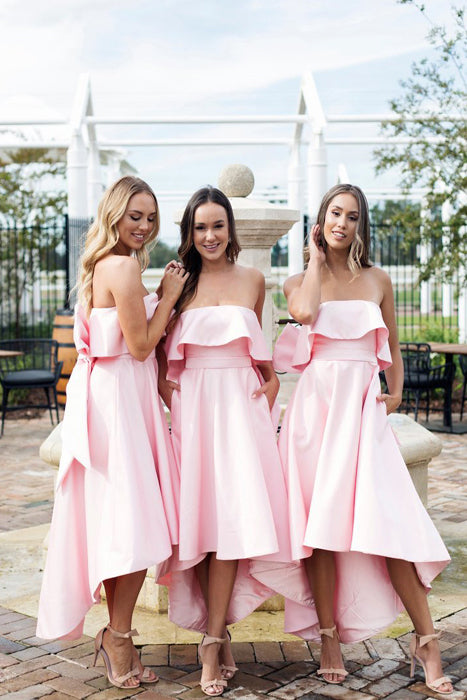 High Low Strapless Bridesmaid Dress, Pink Short Bridesmaid Dress with Bow