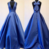 A-line Royal Blue Deep V-neck Sleeveless Long Prom Gown with Bowknot,N645