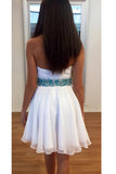 White Sweetheart Cheap Chiffon Short Dress, A Line Homecoming Dress with Beading Belt N857