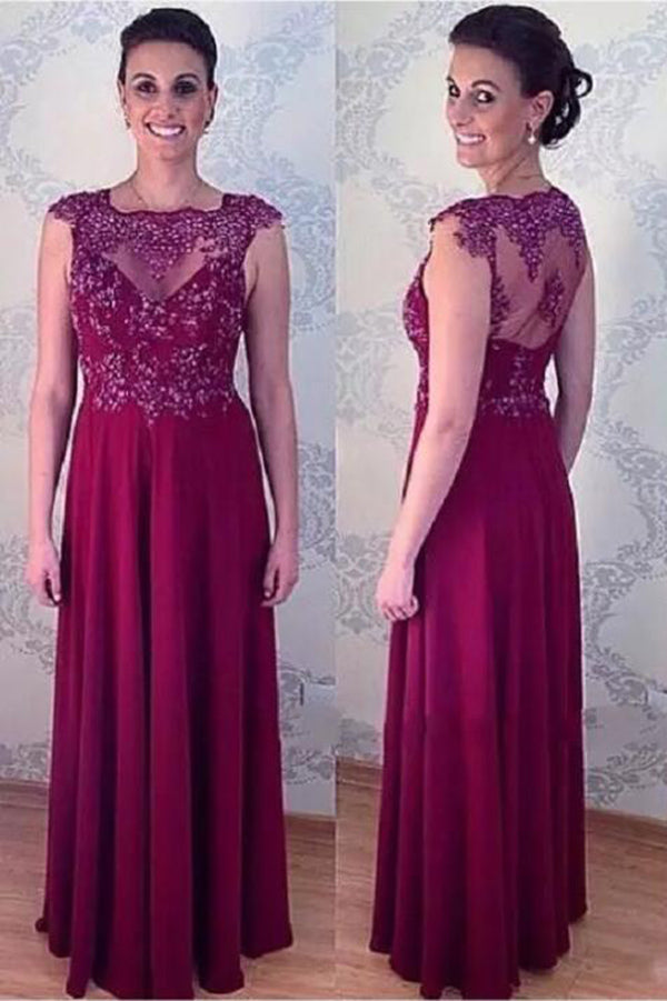 Elegant A Line Long Appliqued Mother Of The Bride Dresses Floor Length Evening Dress